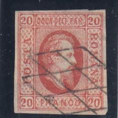 ROMANIA 1865 LP 17 A. I. CUZA VALOAREA 20 PARALE ROSU STAMPILA GRATAR - Timbre Romania, Nestampilat