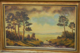 Tablou DIMENSIUNI MARI - ulei pe carton tare CIOBAN CU OILE, Natura, Realism