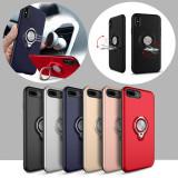 Cumpara ieftin Husa antisoc, cu magnet si inel suport Iphone 6 / 6s / 7 / 7 plus / 8 / 8 plus, iPhone X, Albastru, Auriu, Negru, Rosu, Roz, Plastic