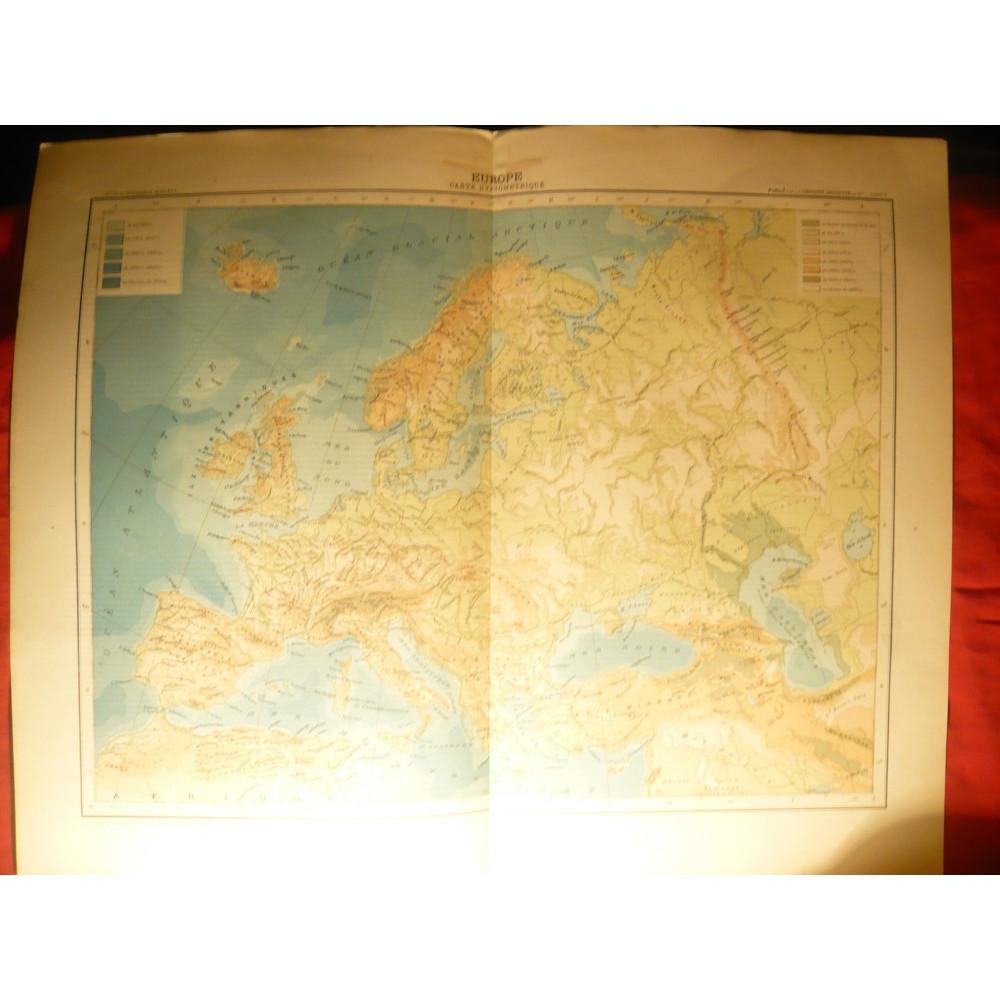 Harta Hipsometrica Europa 1906 Dim 42x39 Cm Ed Hachette Gravor