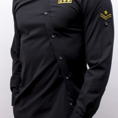 Camasa asimetrica barbat - camasa neagra camasa barbat camasa slim camasa army, XL, Maneca lunga, Negru