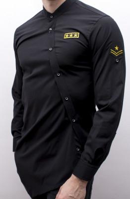 Camasa asimetrica barbat - camasa neagra camasa barbat camasa slim camasa army foto