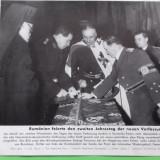Foto presa Ministru Tatarescu, Patriah Nicodim, General Georgescu, Alb-Negru, Militar, Romania 1900 - 1950