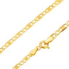 Lanț din aur galben de 14K- zale ovale, gaură și crestături, 500 mm - Lantisor aur