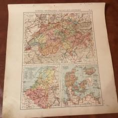 Harta inceput de secol XX - Elvetia, Olanda, Belgia si Danemarca ! - Harta Germaniei