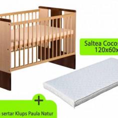 Pat din lemn pentru bebe + saltea 8 cm