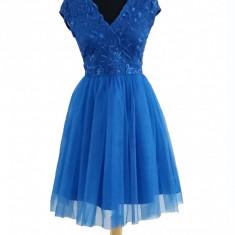 Rochie Albastra Din Dantela Si Tull - Rochie de seara, Marime: 34, 38, Culoare: Albastru, Scurta