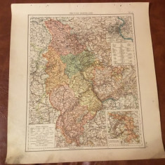 Prusia / Harta inceput de secol XX Provincia prusaca Rheinland ! - Harta Germaniei