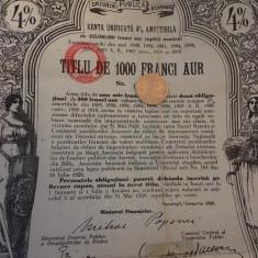 1000 Franci Aur Titlu de Stat Renta Romana obligatiune la purtator 1929