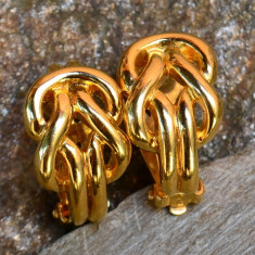 CERCEI CLIPS, NINA RICCI - Cercei placati cu aur