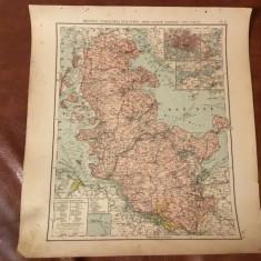 Harta inceput de secol XX provincia prusaca Schleswig Holstein Hamburg si Lubeck - Harta Germaniei