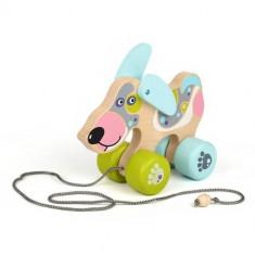 Jucarie din Lemn cu Roti Happy Puppy - Jucarie pentru patut