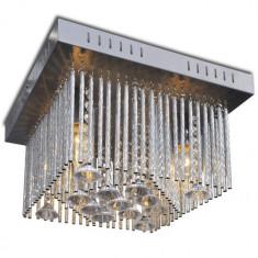 Lustră pătrată cu decorațiuni din cristal și benzi din aluminiu - Corp de iluminat