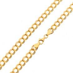 Lanț din aur galben de 14K - zale duble, eliptice, 500 mm - Lantisor aur