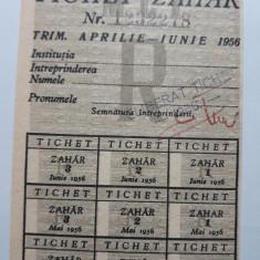 TICHET ZAHAR - CARTELA ZAHAR - ANUL 1956 - RATIE DE ALIMENTE PERIOADA COMUNISTA
