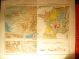 Harta Hipsometrica si Geologica a Frantei ,1906 Ed. Hachette ,gravor Erhart ,au