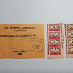 TICHET CARTELA CUPOANE ALIMENTE SI PRODUSE INDUSTRIALE ANII 1950 SI 1980
