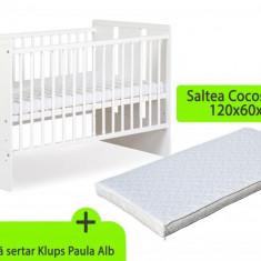 Patut din lemn bebe cu saltea cocos 8 cm - Patut lemn pentru bebelusi MyKids, 120x60cm, Alb