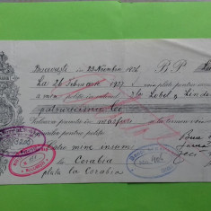 Bucuresti Bilet la ordin cu timbru si apostila 1926