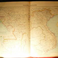 Harta Colonii Franceze -Partea II, gravor Erhard Fr.1906, dim.= 42x39 cm Hachett