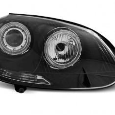 Far Depouri VW GOLF 5 10.2003-2009 cu ANGEL EYES fond negru, Volkswagen, GOLF V (1K1) - [2003 - 2009]