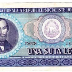 2.Bancnota 100 lei 1966 VF++ - Bancnota romaneasca