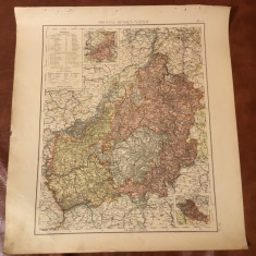 Prusia / Veche harta inceput de secol XX provincia prusaca Hessen Nassau !! - Harta Germaniei