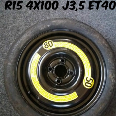 1 Roata de rezerva Nou R15 4x100 J3.5 Et40 - Janta tabla, Numar prezoane: 4