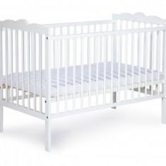 Patut pentru copii din lemn de pin Klups Radek III Alb - Patut lemn pentru bebelusi