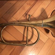 Instrument vechi, de suflat, german, din alama - Flaut