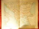 Harta Balcanilor (partial Romania) -Ed.Hachette 1906 ,gravor Erhard, 48x39 cm