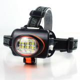 Lanterna Frontala LED 6W Liliang LL536 Cadru Rosu Functionare 3 Baterii AA