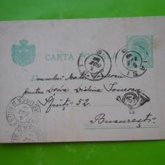 HOPCT 159 A CARTE POSTALA CIRCULATA 1899 IASI-BUCURESTI /STAMPILOGRAFIE GOARNA