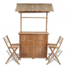 Set bar din lemn de bambus 2 scaune bar+1 masă