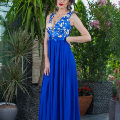 Rochie Lunga Din Voal Si Dantela - Rochie de seara, Marime: 38, 42, 44, Culoare: Albastru, Fara maneca