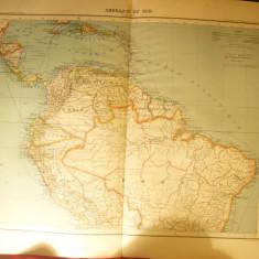 Harta America de Sud - Columbia, Venezuela...Ed. Hachette 1906, dim.= 39x42 cm