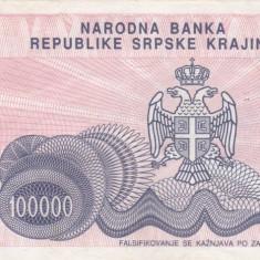 CROATIA 100.000 dinara 1993 KNIN VF+!!! - bancnota europa