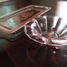 Set tava si bomboniera cristal sau semicristal roz