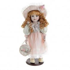 Papusa din portelan decor Pink Dress Doll 36cm
