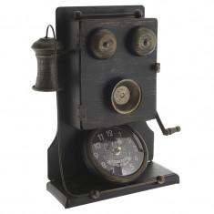 Ceas de masa Telefon Antic metalic negru-auriu