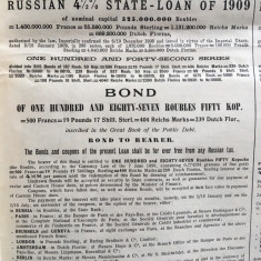 500 Franci Aur Rusia 1909 Titlu de Stat obligatiune la purtator