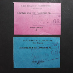 TICHET CARTELA ALIMENTE - CARNE - MICROCASA DE COMENZI CLUJ - ANII 1980