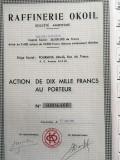 10 000 Franci actiune Raffinerie Okoil Franta 1959 cupoane neincasate