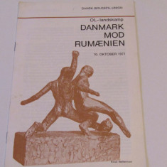 Program meci fotbal DANEMARCA - ROMANIA (10.10.1971)