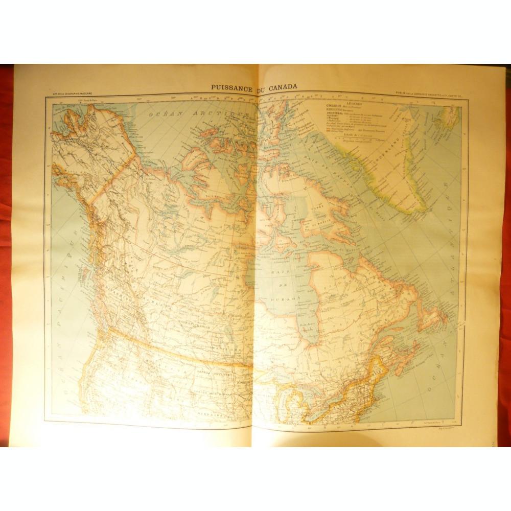 Harta Puissance De Canada 1906 Dim 42x39 Cm Ed Hachette Gravor