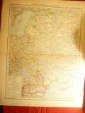 Harta Rusiei Occidentale si a Romaniei- Ed. Hachette 1906 , gravor Erhard