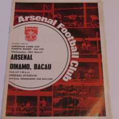 Program meci fotbal ARSENAL LONDRA - DINAMO BACAU 18.03.1970