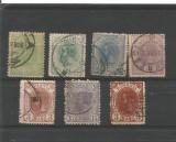 No(08)timbre-Romania-Carol I - 1893-1908 Spic de grau 7 buc.-deparaiate, Stampilat