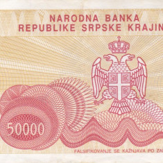 CROATIA 50.000 dinara 1993 KNIN VF+++!!! - bancnota europa