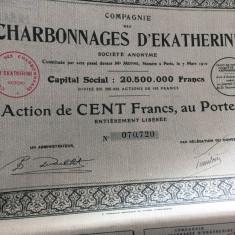100 Franci Actiune Charbonnages D'Ekaterine la purtator cu cupoane